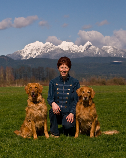 Janice with Golden Retrievers Billie & Raisin