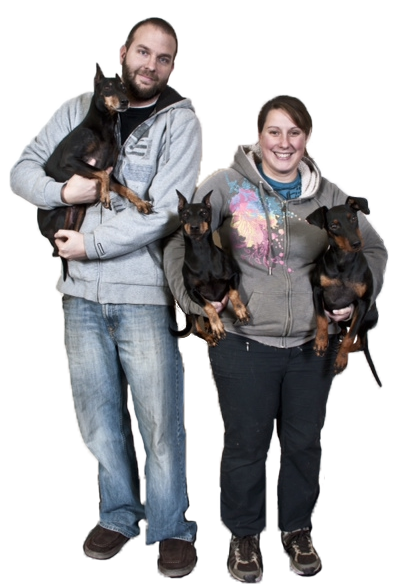 Lâle and Matt with thier terriers