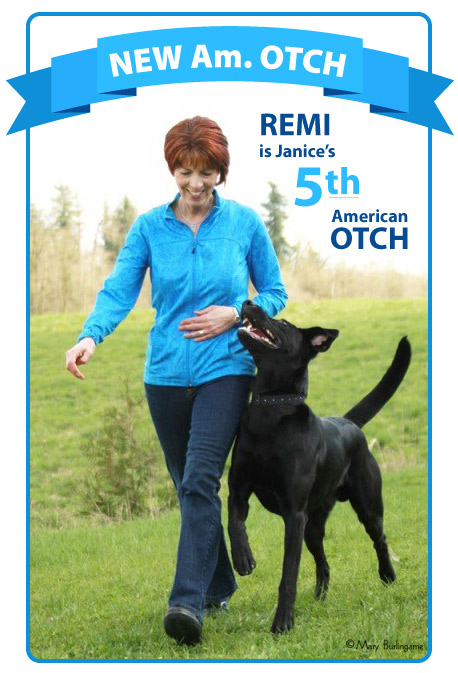 Remi earns Janice's 5th Am OTCH title