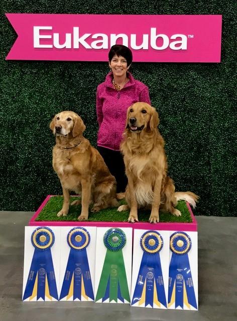 Janice Gunn with dogs, Sparks & Pounce